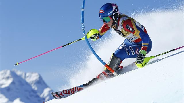 Mikaela Shiffrin wins historic third straight world slalom title