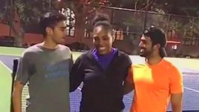 VIDEO: Serena gives two strangers the surprise of their lives by crashing their tennis match