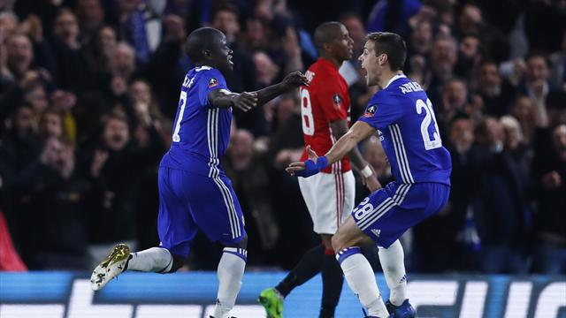 Kante stunner knocks out 10-man United as Chelsea reach last four