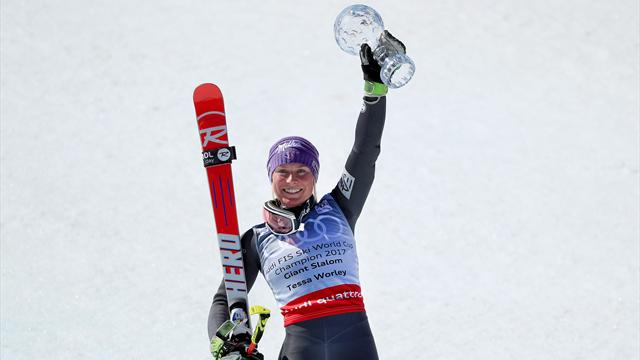 Worley wins her first globe, Myhrer wins men's slalom
