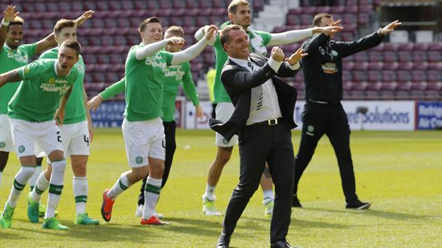 Celtic destroy Hearts to win Scottish title for sixth straight season