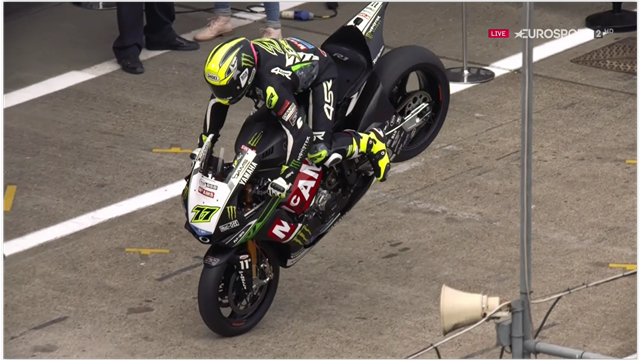 Ellison celebrates pole with epic stoppie