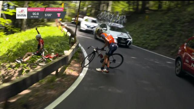 BMC rider falls over fence, Izagirre and Movistar team-mate argue on side of road
