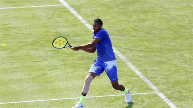 Nick Kyrgios an injury doubt for Wimbledon after retiring at Queen's