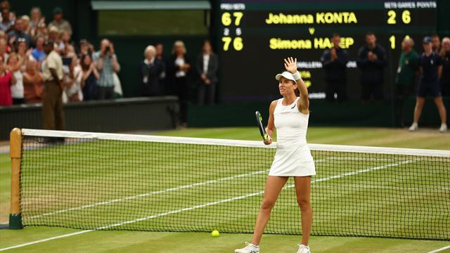 Konta sets up Halep quarter-final