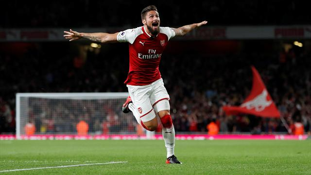 Super-sub Giroud scores at death as Arsenal beat Leicester in thriller