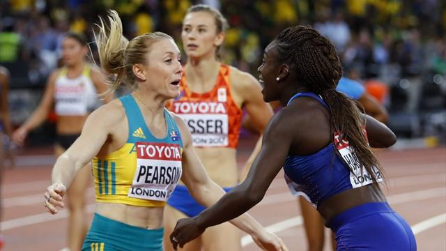 Pearson roars back to win world 100m hurdles gold