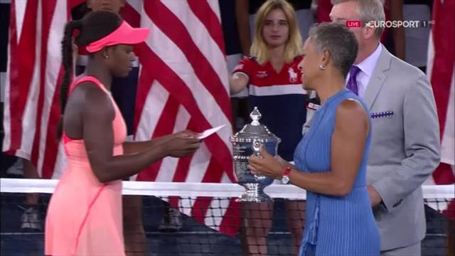 Stephens lifts the US Open trophy after remarkable victory