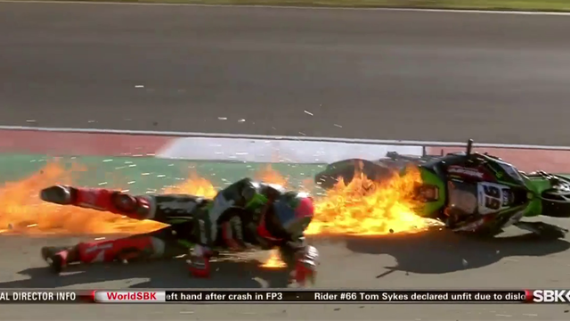 Bike bursts into flames after huge crash