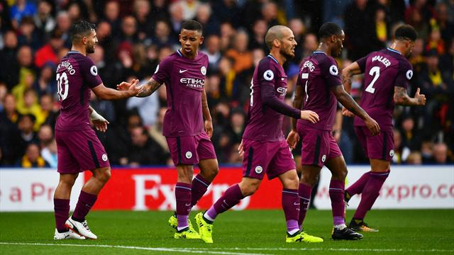 Man City hit six against Watford to go top