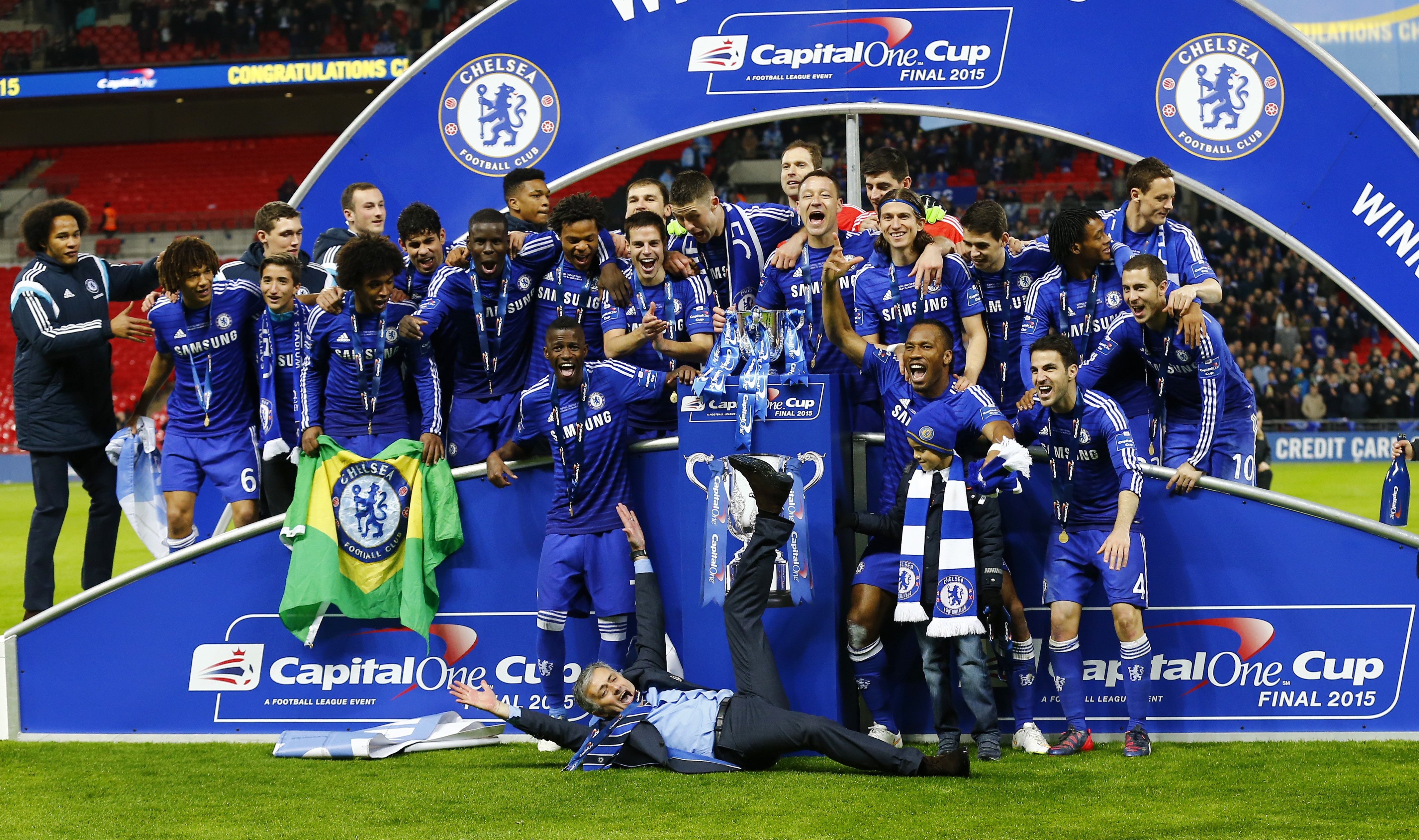 Jose Mourinho and Chelsea savour the moment at Wembley.