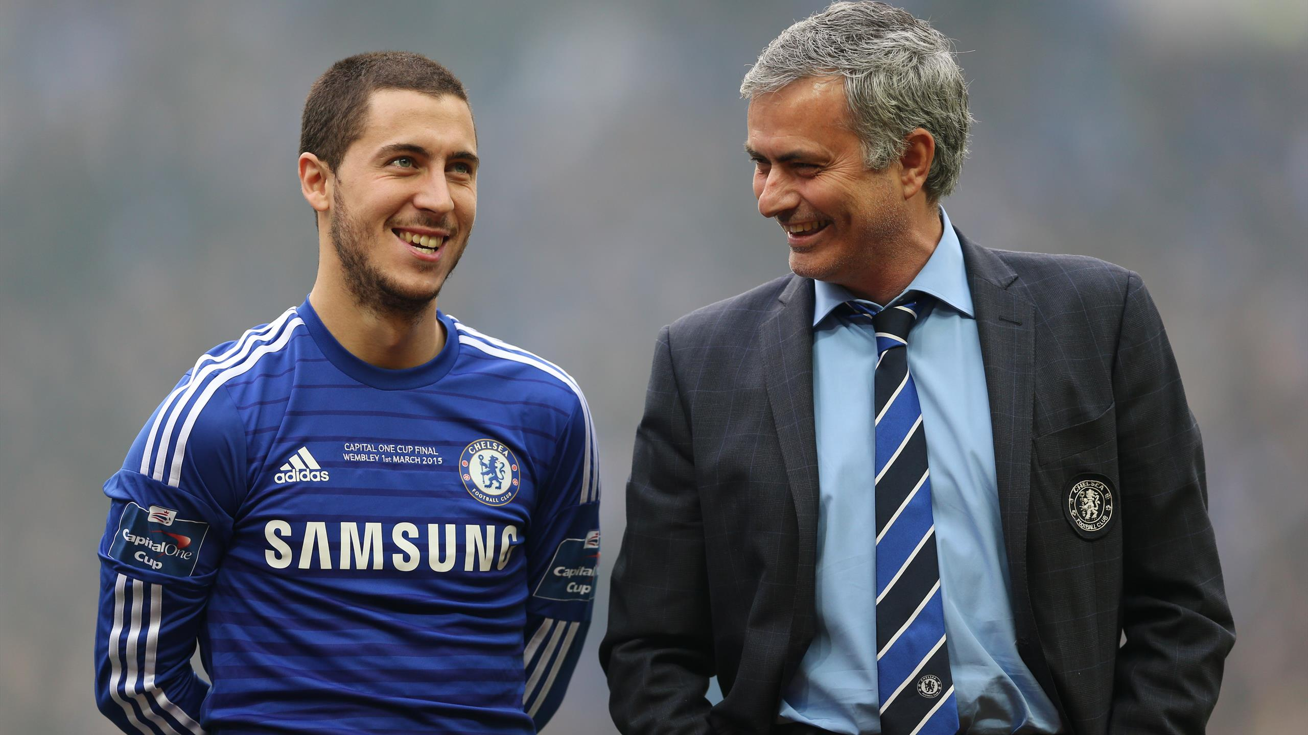 Chelsea manager Jose Mourinho and Eden Hazard